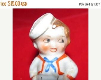 Vintage Sailor Boy Salt Shaker, Navy, Military Figure, Red, White, Blue Patriotic, Military, USA Navy Sailor