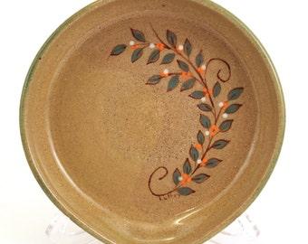 Stoneware Pottery Spoon Rest OOAK Green Brown Orange  Leaves Berries #280
