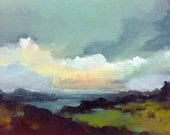 FLOATING WORLD, oil painting landscape original oil, 100% charity donation, original painting  5x7 canvas panel, clouds, ocean