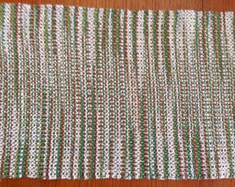 Handwoven placemats, Landscape yarn, natural, brown, and greens, set of 4