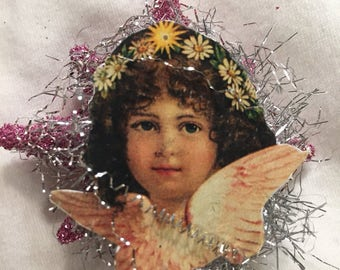 Sweet Angel Vintage Style Christmas Tree Topper For Small Feather Tree