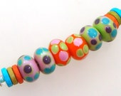 Handmade Lampwork Glass Beads - 3 pairs. Stacked dots on pink, tangerine & lime green. Retro colors, earring pairs.