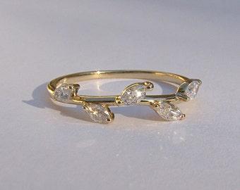 Diamond 14k Gold Leaf Ring