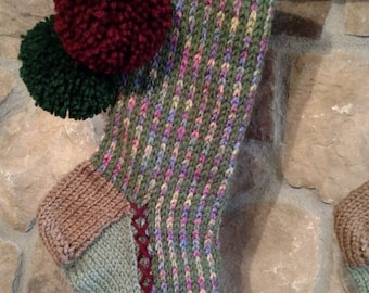 Hand knit Christmas Stocking Heathered Rainbow Thyme Green Stripe with Claret Red Hunter Green Flower border
