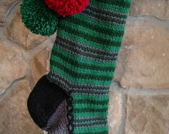 Old Fashioned Hand Knit Classic Series Two tone Green Horizontal Stripe Christmas Stocking Red Heart detail