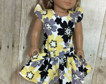SALE 18 inch Doll Clothes  Flutter Sleeve Yellow, Black, Grey by Nayasdesigns