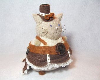 Steampunk cat, Animal pincushion, Cute felt cat, Steampunk art doll, Sewing accessory, Steampunk gifts, Cool cat sculpture, For cat lovers