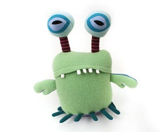 "Stuffed Monster ""Gunder Space Crab"" Cotton Monster Recycled OOAK Plush"