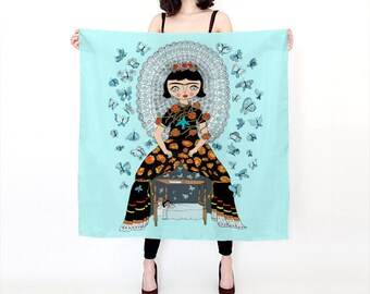 Scarf - Frida butterfly - Frida Kahlo - Frida cest moi - illustration - blue