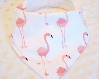 FREE SHIPPING Pink Flamingos Bandana Baby Bib -- Drooler Bib --
