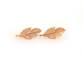 Feather Rose Gold Earring Post Finding (ET058C)