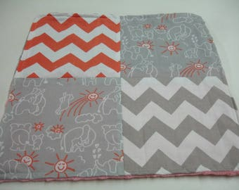 Elephants You Are My Sunshine Coral and Gray Four Square Baby Minky Burp Cloth 12 x 12 READY TO SHIP