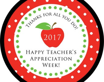 Teachers Appreciation Week Gift Thank You PERSONALIZED Stickers, Tags, Labels, or Cupcake Toppers, various sizes, printed & shipped