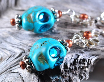 Skull earrings | day of dead earrings | turquoise skull
