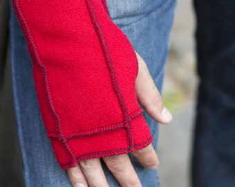 SALE- Red Fingerless Mittens, recycled fleece, teal thread details, vegan, Large
