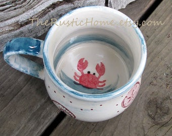 Made to order Custom pottery mug beach lover crab mug ocean seaside cute crab and shells seashell mug coffee tea soup chowder bisque mugs