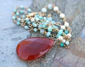 Peruvian Opal, Amazonite, White Pearl Gemstone Necklace, 14KT Gold Filled Wire Wrapped Long 24 Inch Layering Necklace,Multi Gemstone Jewelry
