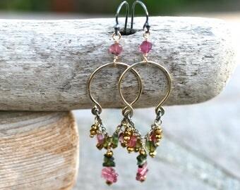 Tourmaline Gemstone, 14KT Gold Filled Chandelier Earrings,Pink,Green Tourmaline Gemstone,Mixed Metal Earrings, Gold,Oxidized Sterling Silver
