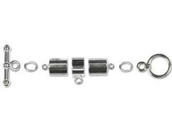 Kumihimo 8mm Barrel Toggle Finding Set Silver Plate