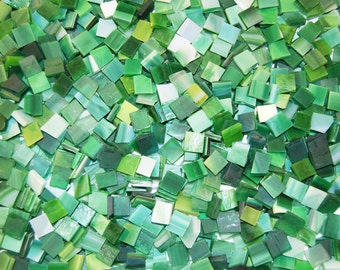 3/8 Inch Shades of Green Mini Mix Color Tumbled Stained Glass Mosaic Tiles