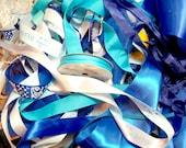Blue Ribbon Scrap Bag, Bag of Assorted Blue Ribbon Scraps x 1/2 pound