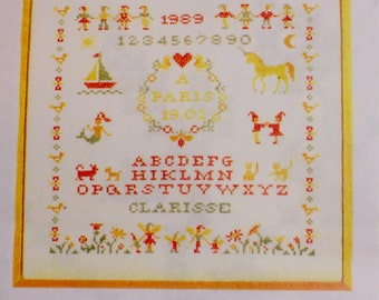 Embroidery Kit, Alphabet Unicorns and Leprechauns, Cross Stitch Kit by Compagnie des Ouvrages, FN, Sampler