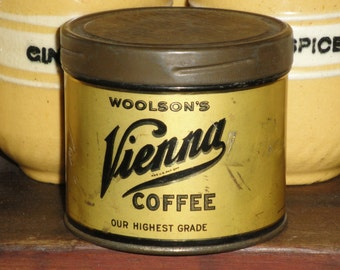 Vintage Coffee Sample Tin  | Antique Vienna Coffee Tin | Old Small Coffee Tin | Primitive Kitchen Collectible