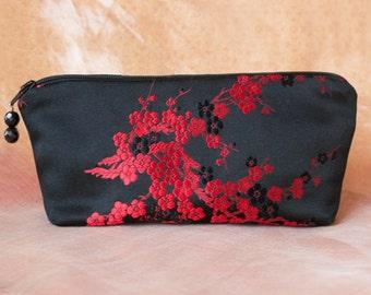 CHERRY BLOSSOM Black and Red Silk Brocade Makeup Bag