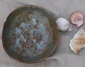 Small seashell bowl. SALE. Coastal seashell decor. Organic Serving bowl, blue and brown pottery bowl. Shells, barnacles, coral, starfish.