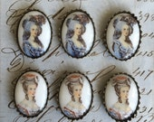 6 Vintage German Porcelain Cameo with Settings 18mmx13mm