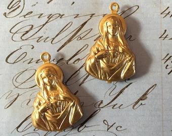 2 Mary Medal Charm Double Sided - Religious - Catholic - sacred heart