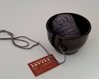 Handmade Ceramic Yarn Bowl in Dragon Glaze - Knitting Crocheting Accessory - Yarn Organizer - Holiday Gift for Fiber Freaks!