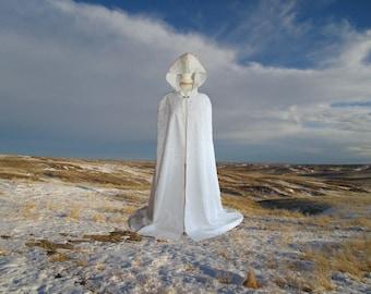 Ivory Hooded Cloak-Cape-Beaded- Bridal -Satin Wedding -Renaissance Medieval-Faerie-CosPlay-Veil