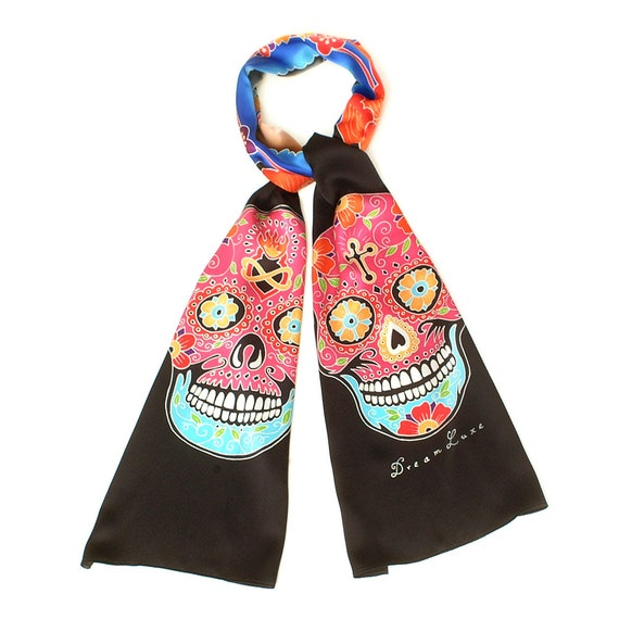 Handpainted silk scarf, Skull scarf, Catrina skull, Day of the Dead scarf, Dia de los metros, Hand made, Hand painted scarf, Colorful scarf
