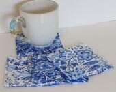 Fabric Coasters Set , Blue and White Jacobean , Blue Tiles , Quilted Coasters, Mug Rug, Reversible, Bridal Gift