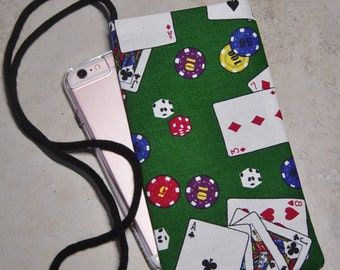 Cell Phone Case, Eyeglass Case, Extra Pocket, Carry Essentials, Pocket Necklace Bag, Casino Fabric, Playing Cards, Casino Bag, Gamblers Gift