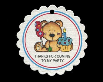 Birthday Party Favor Tags - First Birthday - Bear - Thank You Tag - Bag Tag - Cookie Tag - Hang Tag - Blue