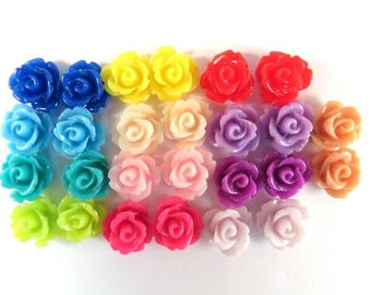 BOGO - 26 Rose Flower Cabochon Beads Resin Bead 10mm Assortment - No Holes - 26 pc - CA2006-AS24 - Buy 1, Get 1 Free - No coupon required