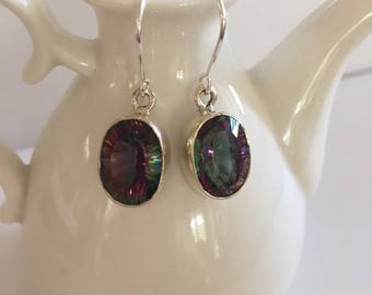 Mystic Quartz Drop Earrings-Sterling Silver Earrings