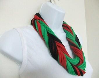 Kwanzaa Scarf Multi Strand T-shirt Infinity Scarf Necklace Kwanzaa Gift
