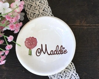 Ring Dish Unique Bridesmaid Gift Idea  - Bridesmaid Ring Dish - Personalized Ring Dish - Trinket Dish - Ring Holder - Jewelry Dish