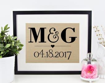Initials and Wedding Date Personalized Burlap Print | Wedding Anniversary Monogram Gift | Bridal Shower | Bride Groom Rustic Wedding Decor