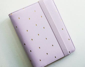 Lavender Gold Personal Planner A6 Medium Size. Leather. Filofax, Planner, Stationary Diary, Organizer Scheduler 2017