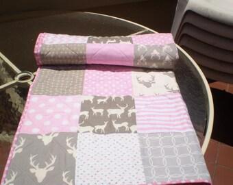 Handmade baby quilt,baby girl quilt bedding, crib quilt, pink, grey, deer baby quilt, woodland, deer, stag, chevron, toddler, Rustic in Pink