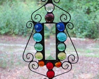 Stained Glass Suncatcher - Chakra - Bevel with Colored Glass Nuggets and Wire
