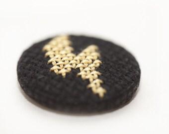 Cross Stitch Lightning Bolt Pin Badge