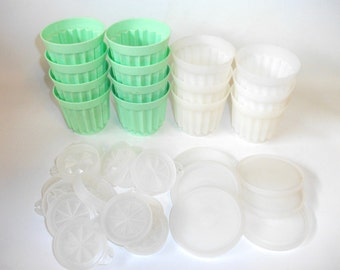 Vintage Tupperware Jello Molds White and Green Gelatin Kitchenware