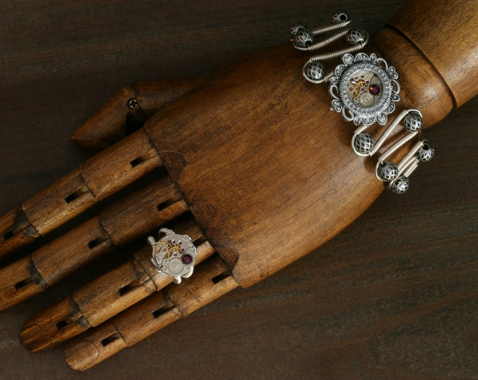 NEW Steampunk Jewelry Set,Bracelet and ring, Amethyst swarovski crystal,antique watch movement
