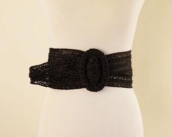 Vintage 90s Belt Black Straw Wide Adjustable