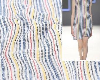 4460 - Colorful Pixel Stripe Yarn-Dyed Cotton Fabric - 45 Inch (Width) x 1/2 Yard (Length)